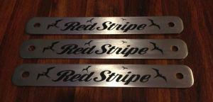 Engraved Red Stripe Metal Plates