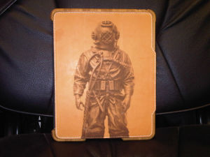 Deep Sea Diver Engraving onto Leather iPad Cover