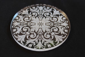 Engraved Pattern into Glass Coaster