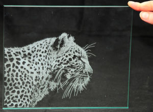 Detailed Engraving into a Glass Pane